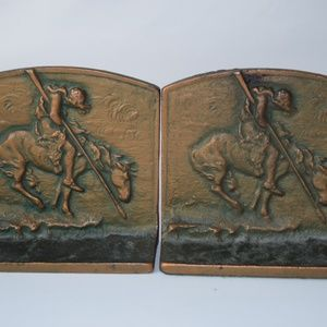 Vintage Pair of Cast Iron Bookends w/Horse & Rider